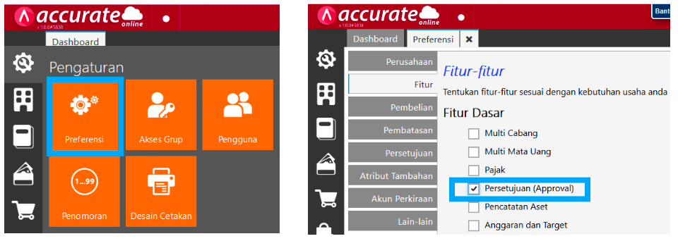Modul Approval Accurate Online via Smartphone Accurate Online
