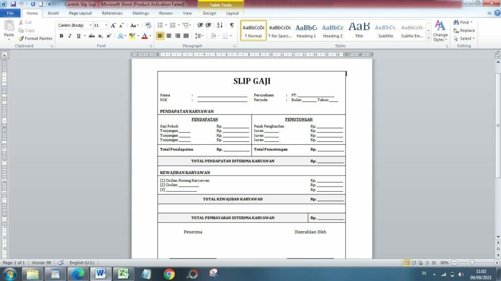 Slip Gaji Microsoft Word