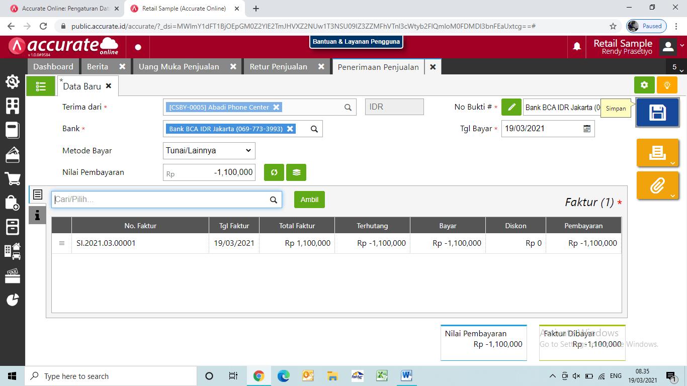 cara retur uang muka penjualan lunas accurate online
