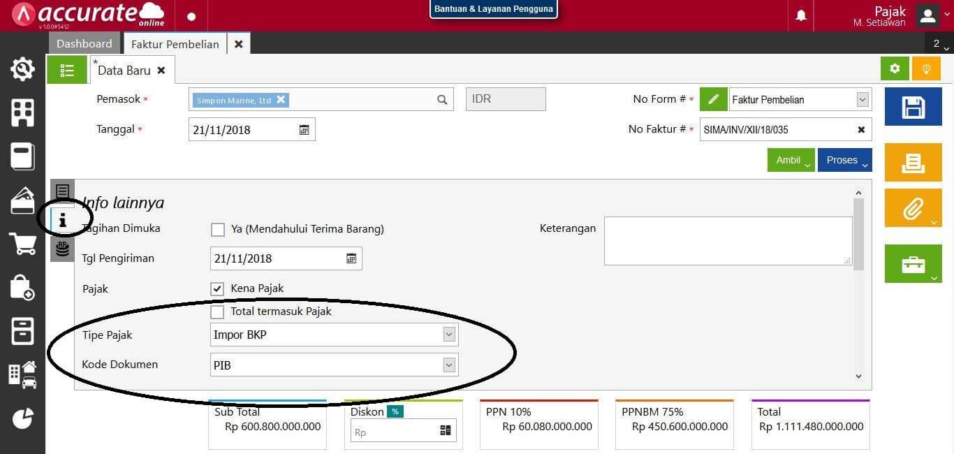 tutorial transaksi pembelian bkp